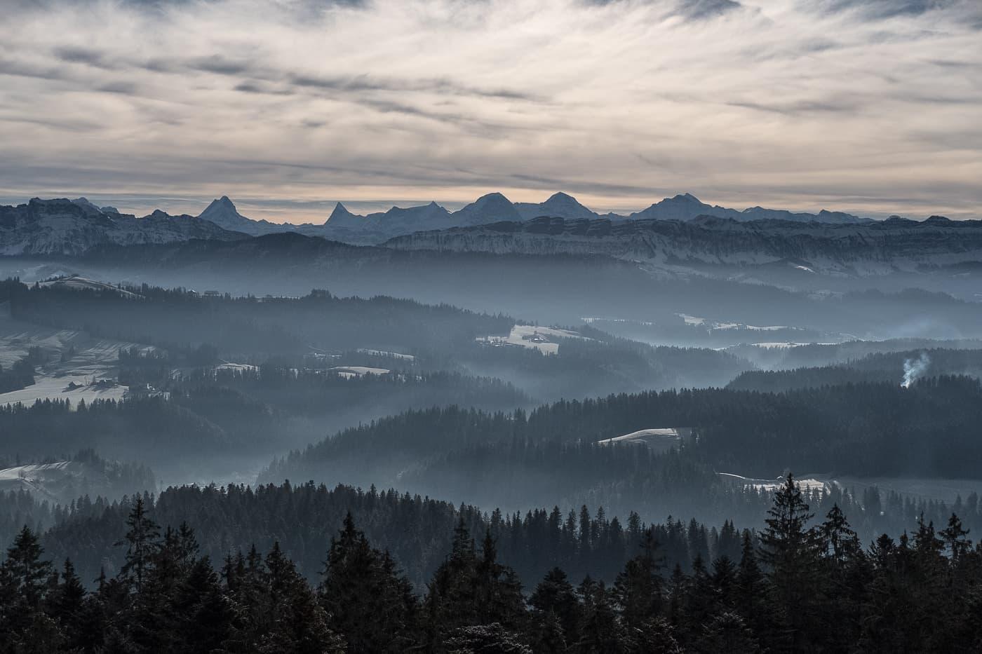 Aussicht auf die Alpen vom Emmental