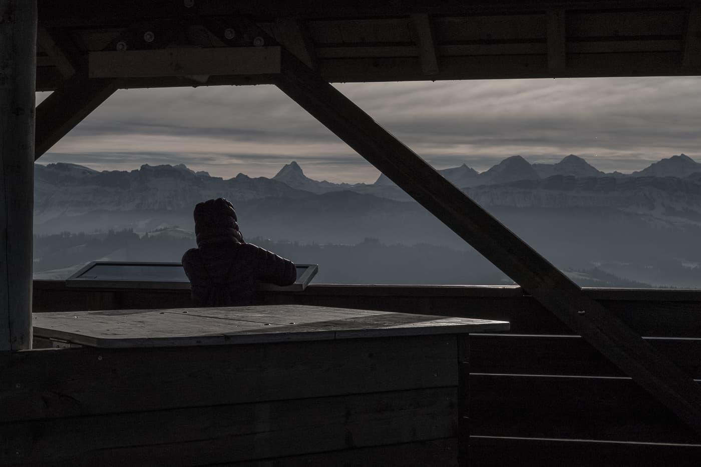 Bergpanorama auf das Berner Oberland vom Chuderhüsi