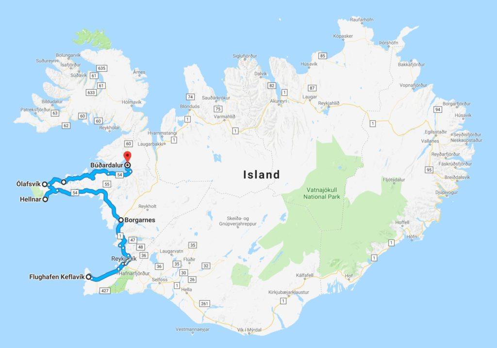 Route Halbinsel Snaefellsnes