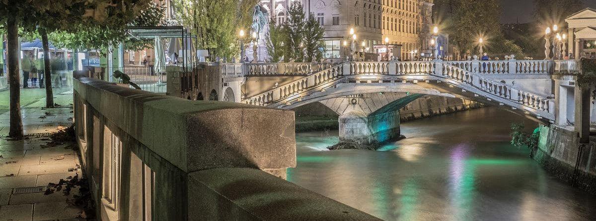 Nachtfotografie in Ljubljana Slowenien