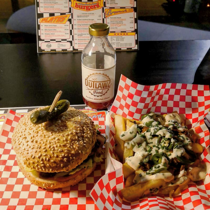 outlawz american dinner vegan burger