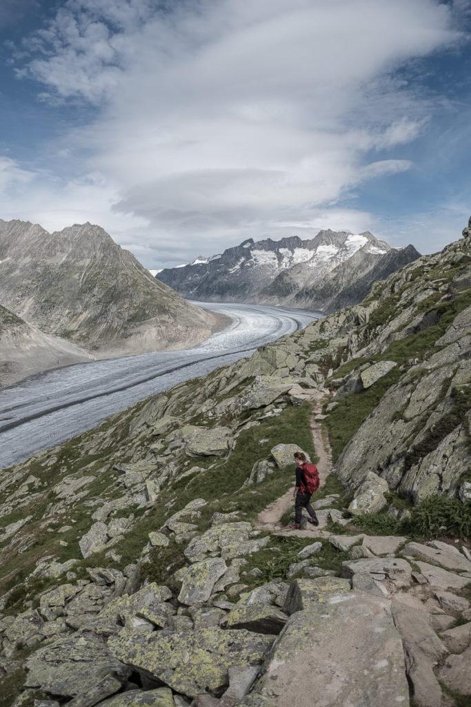 Panoramaweg entlang dem Aletschgletscher