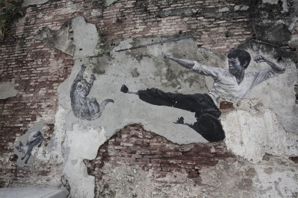 Kungfu Kid vs. Cat in Malaysia (Streetart)