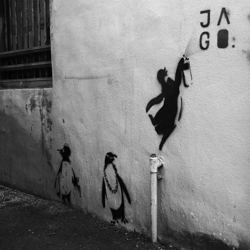 Streetart Pinguine in Georgetown Penang Malaysia