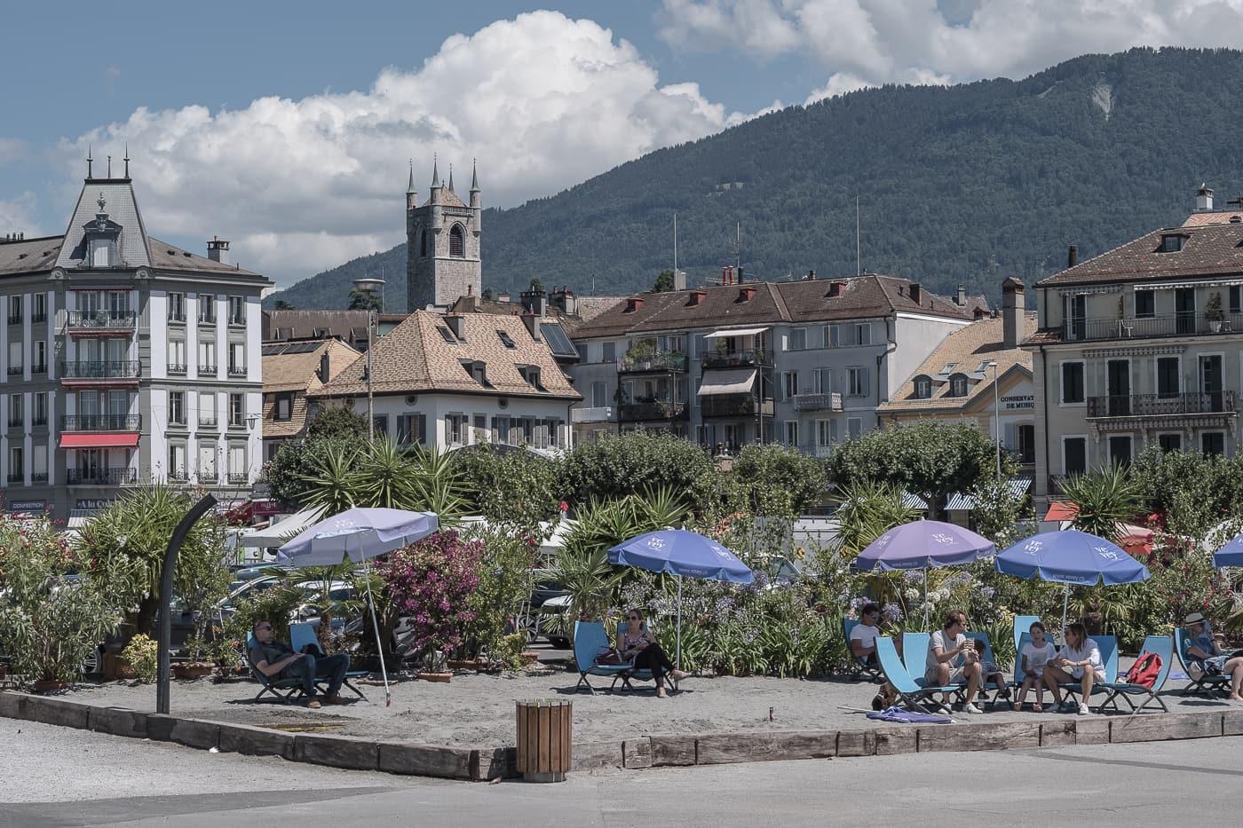 Strand in der Stadt Vevey