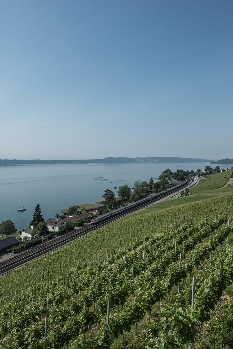 Zugstrecke entlang Bielersee